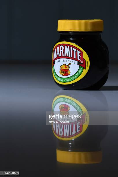 A jar of Marmite is arranged for a photogaph in Brenchley south east England on October 13 2016 British staple Marmite was taken off the virtual...