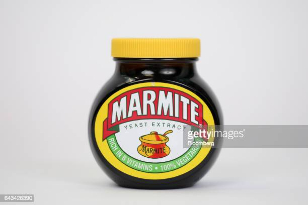 A jar of Marmite manufactured by Unilever NV stands in this arranged photograph in London UK on Tuesday Feb 21 2017 On Sunday Kraft Heinz Co withdrew...