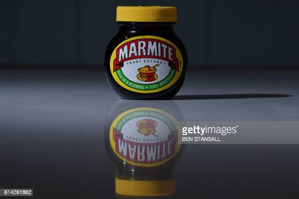 A jar of Marmite produced by Unilever is arranged for a photogaph in Brenchley south east England on October 13 2016 British staple Marmite was taken...