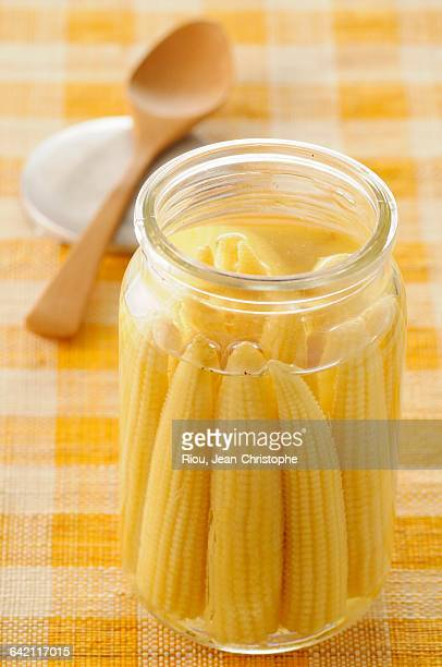 Jar of mini corn on the cobs
