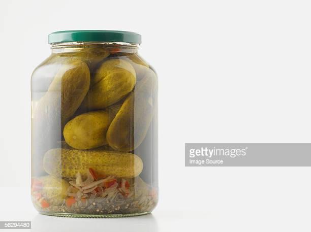 Jar of pickled gherkins