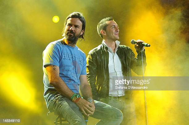 Jarabe De Palo and Francesco Silvestre known of Modˆ perform live during 2012 Wind Music Awards held at Arena of Verona on May 26 2012 in Verona Italy