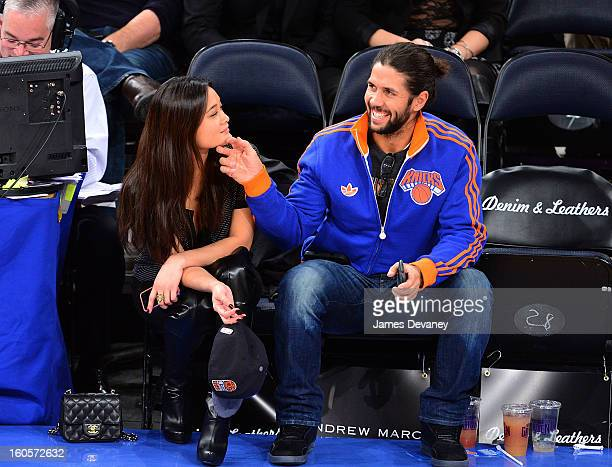 Jarah Mariano and Fernando Verdasco attend the Sacramento Kings vs New York Knicks game at Madison Square Garden on February 2 2013 in New York City