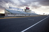 Perspective of tribune and straight in Jarama Racetrack, Madrid, Spain.