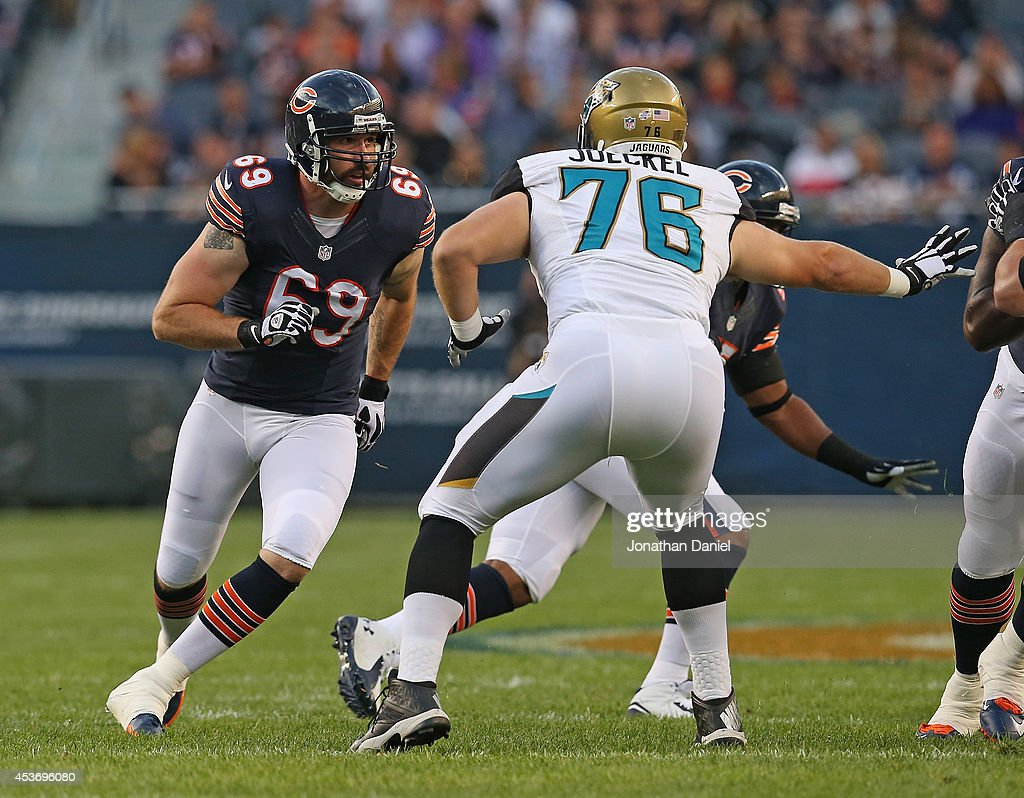 <a gi-track='captionPersonalityLinkClicked' href=/galleries/search?phrase=Jared+Allen&family=editorial&specificpeople=239098 ng-click='$event.stopPropagation()'>Jared Allen</a> #69 of the Chicago Bears rushes against <a gi-track='captionPersonalityLinkClicked' href=/galleries/search?phrase=Luke+Joeckel&family=editorial&specificpeople=7415529 ng-click='$event.stopPropagation()'>Luke Joeckel</a> #76 of the Jacksonville Jaguars during a preseason game at Soldier Field on August 14, 2014 in Chicago, Illinois. The Bears defeated the Jaguars 20-19.