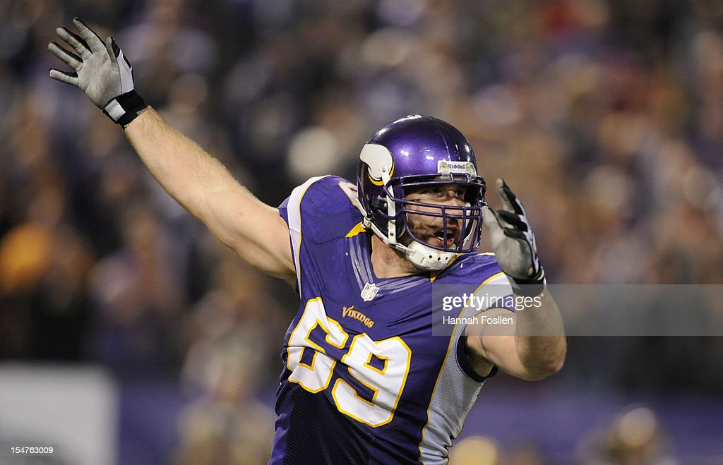Jared Allen #69 of the Minnesota Vikings celebrates a sack during the third quarter of the game against the Tampa Bay Buccaneers on October 25, 2012 at Mall of America Field at the Hubert H. Humphrey Metrodome in Minneapolis, Minnesota.