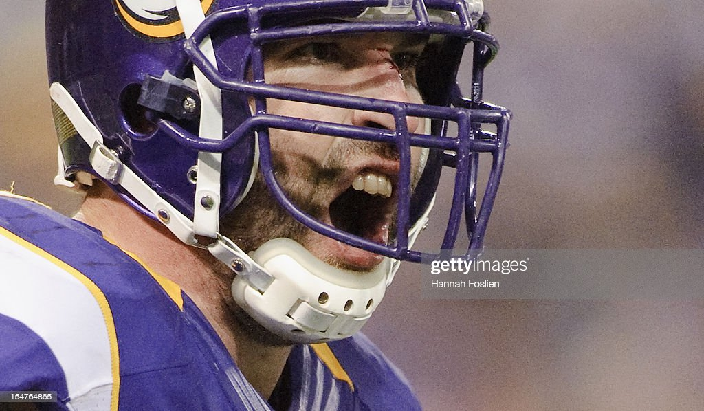 <a gi-track='captionPersonalityLinkClicked' href=/galleries/search?phrase=Jared+Allen&family=editorial&specificpeople=239098 ng-click='$event.stopPropagation()'>Jared Allen</a> #69 of the Minnesota Vikings celebrates a sack during the third quarter of the game against the Tampa Bay Buccaneers on October 25, 2012 at Mall of America Field at the Hubert H. Humphrey Metrodome in Minneapolis, Minnesota. The Buccaneers defeated the Vikings 36-17.