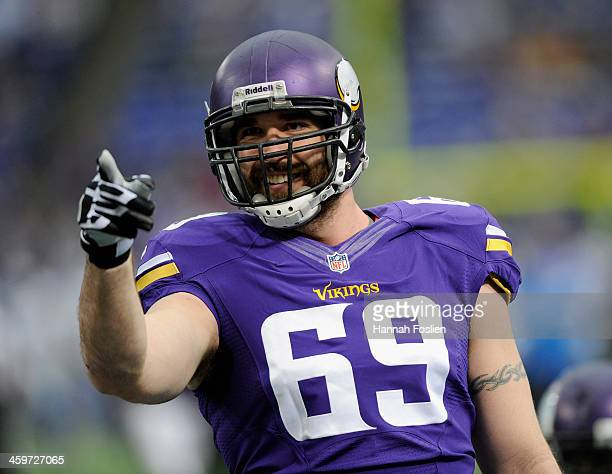 Jared Allen of the Minnesota Vikings looks on before the game against the Detroit Lions on December 29 2013 at Mall of America Field at the Hubert H...