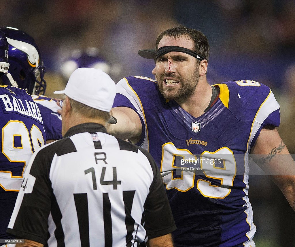 Jared Allen #69 of the Minnesota Vikings protests during an NFL game against the Tampa Bay Buccaneers at Mall of America Field at the Hubert H. Humphrey Metrodome on October 25, 2012 in Minneapolis, Minnesota.