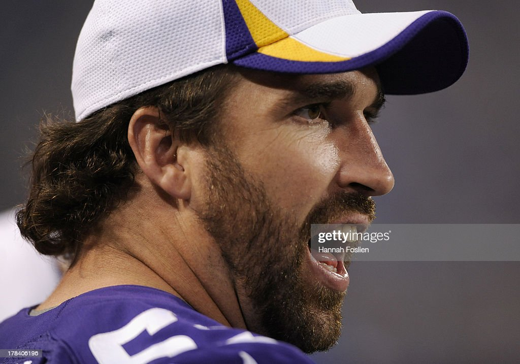 <a gi-track='captionPersonalityLinkClicked' href=/galleries/search?phrase=Jared+Allen&family=editorial&specificpeople=239098 ng-click='$event.stopPropagation()'>Jared Allen</a> #69 of the Minnesota Vikings reacts on the sidelines during the third quarter of the game against the Tennessee Titans on August 29, 2013 at Mall of America Field at the Hubert H. Humphrey Metrodome in Minneapolis, Minnesota. The Vikings defeated the Titans 24-23.
