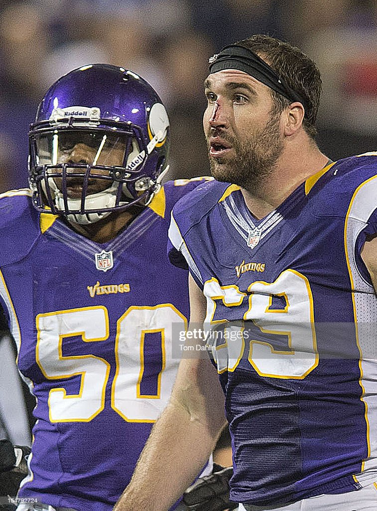 Jared Allen #69 of the Minnesota Vikings reacts to a call during an NFL game against the Tampa Bay Buccaneers at Mall of America Field at the Hubert H. Humphrey Metrodome on October 25, 2012 in Minneapolis, Minnesota.