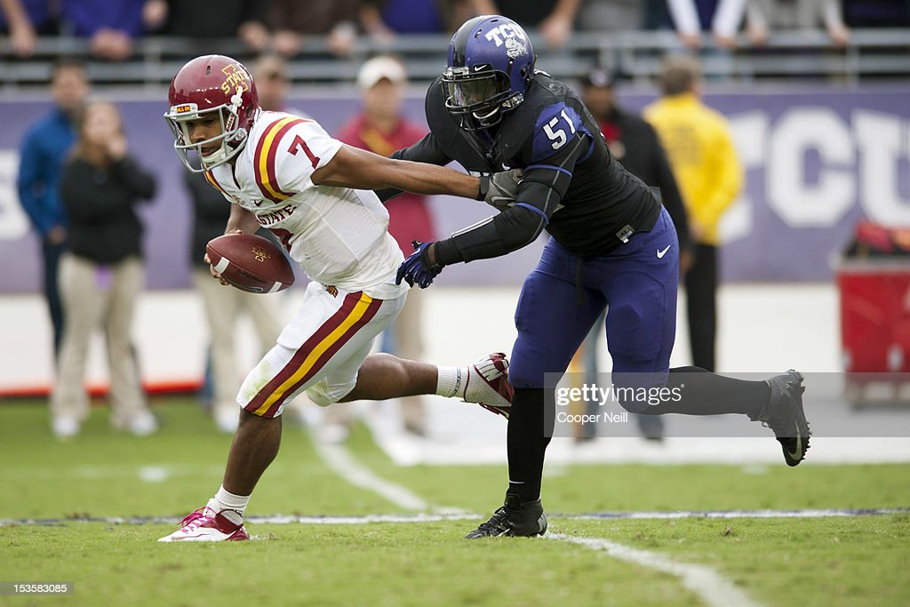 Jared Barnett #7 of the Iowa State Cyclones is chased down by Kenny Cain #51 during the Big 12 Conference game against the TCU Horned Frogs on October 6, 2012 at Amon G. Carter Stadium in Fort Worth, Texas.