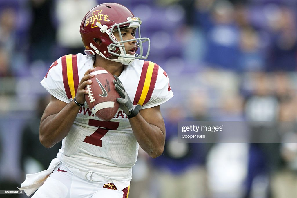 Jared Barnett #7 of the Iowa State Cyclones throws a pass during the Big 12 Conference game against the TCU Horned Frogs on October 6, 2012 at Amon G. Carter Stadium in Fort Worth, Texas.
