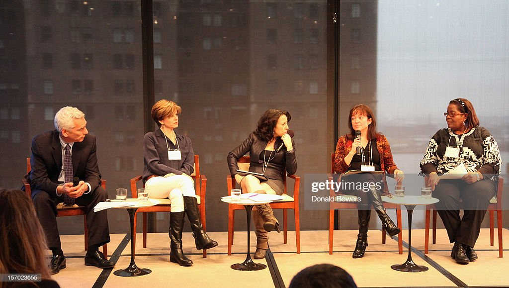 Jared Bernstein, Caitlin Flanagan, Maria Hinajosa, Ana Avendano and Barbara Young speak during a panel at The Ford Foundation Hosts Day Of Discussion On The Hidden World Of Domestic Work In The US at Ford Foundation on November 27, 2012 in New York City.