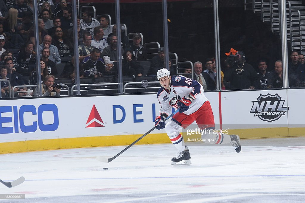 Jared Boll of the Columbus Blue Jackets handles the puck during a game against the Los Angeles Kings at STAPLES Center on October 26 2014 in Los...