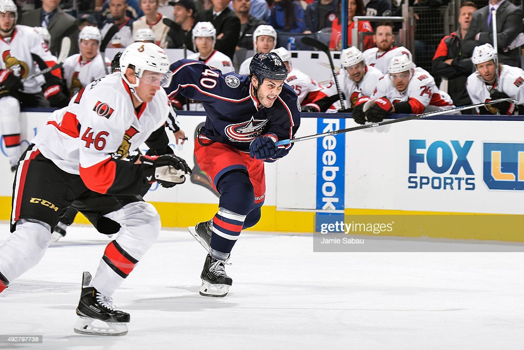 Jared Boll of the Columbus Blue Jackets skates against the Ottawa Senators on October 14 2015 at Nationwide Arena in Columbus Ohio