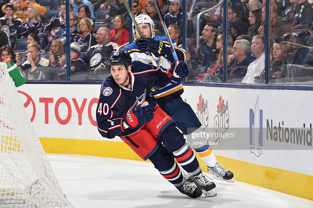 Jared Boll of the Columbus Blue Jackets skates behind the net during the third period of a game against The St Louis Blues on November 17 2015 at...