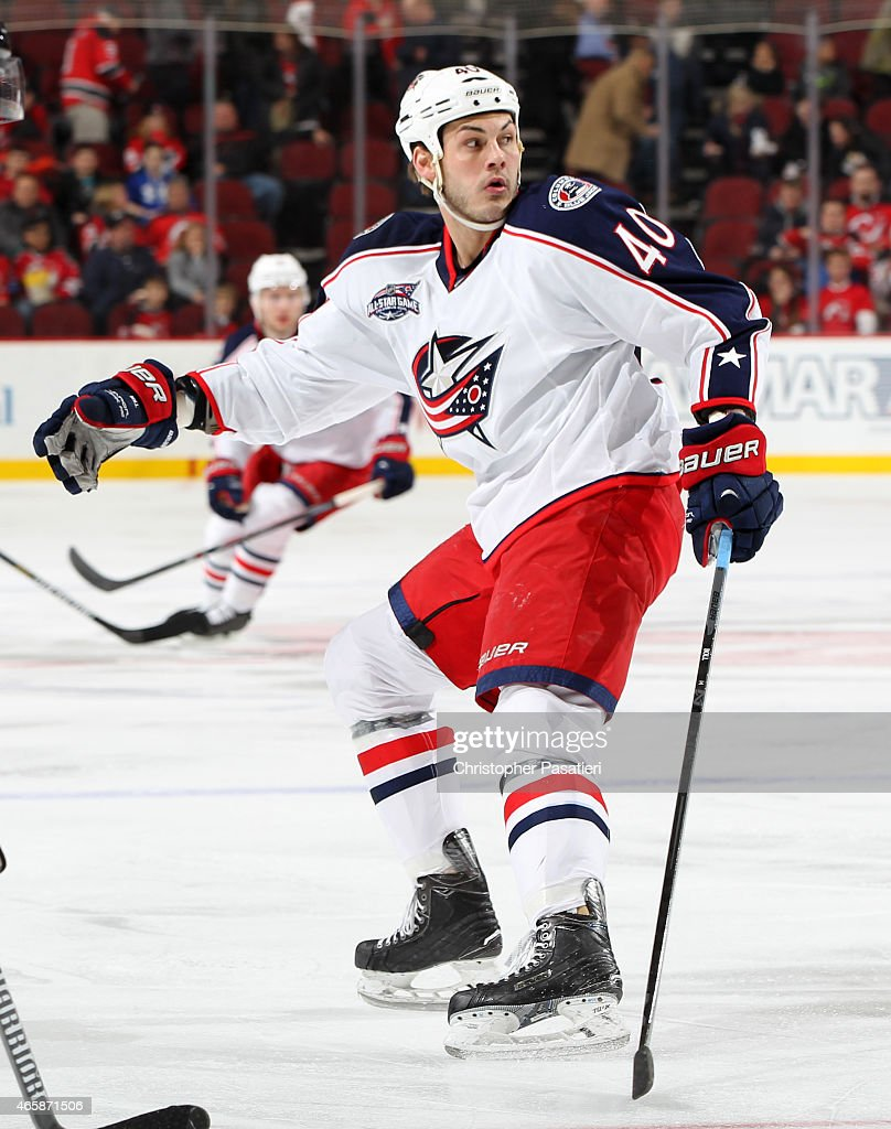 Jared Boll of the Columbus Blue Jackets skates during the first period against the New Jersey Devils at the Prudential Center on March 6 2015 in...