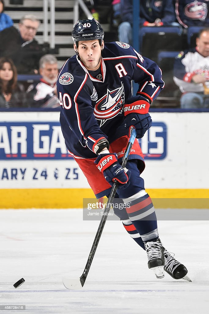 Jared Boll of the Columbus Blue Jackets skates with the puck against the Tampa Bay Lightning on November 8 2014 at Nationwide Arena in Columbus Ohio