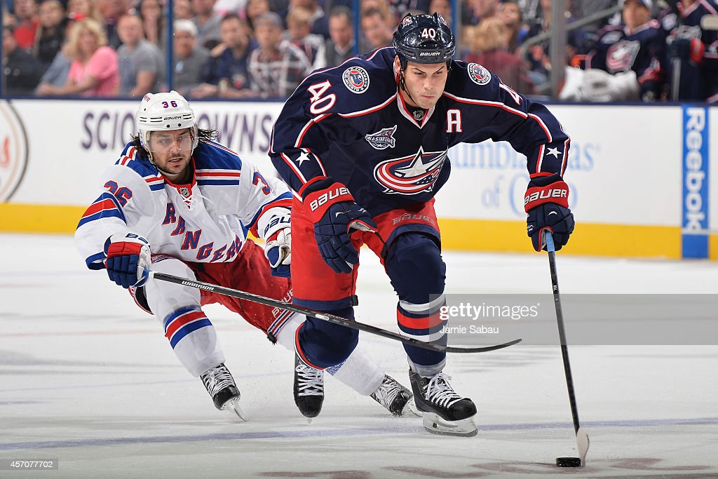 Jared Boll of the Columbus Blue Jackets skates with the puck as Mats Zuccarello of the New York Rangers defends during the second period on October...