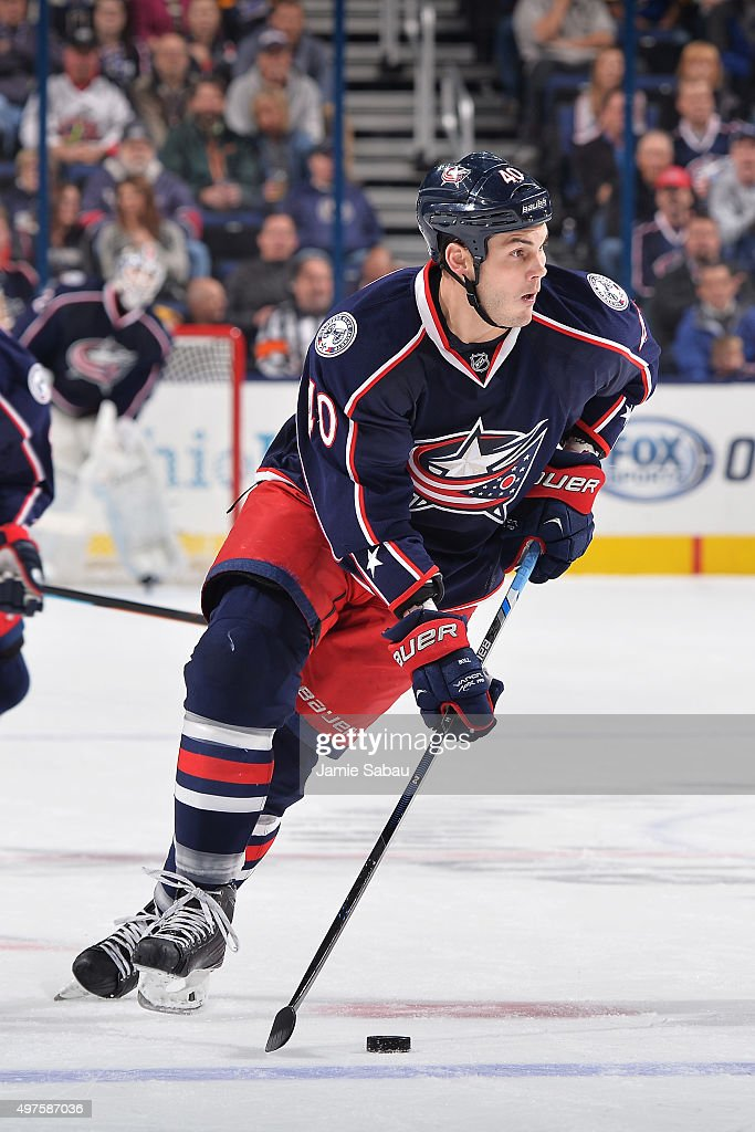 Jared Boll of the Columbus Blue Jackets skates with the puck during the first period of a game against the St Louis Blues on November 17 2015 at...