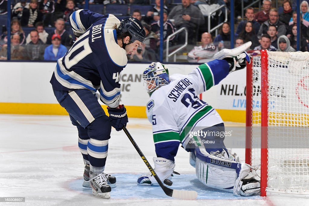 <a gi-track='captionPersonalityLinkClicked' href=/galleries/search?phrase=Jared+Boll&family=editorial&specificpeople=2238879 ng-click='$event.stopPropagation()'>Jared Boll</a> #40 of the Columbus Blue Jackets takes a shot on goaltender <a gi-track='captionPersonalityLinkClicked' href=/galleries/search?phrase=Cory+Schneider&family=editorial&specificpeople=696908 ng-click='$event.stopPropagation()'>Cory Schneider</a> #35 of the Vancouver Canucks in the third period on March 7, 2013 at Nationwide Arena in Columbus, Ohio. Columbus beat Vancouver 2-1 in overtime.