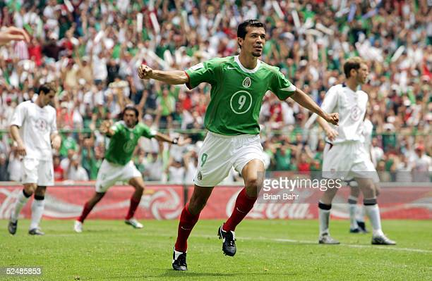 Jared Borguetti of Mexico celebrates his first half goal against the USA during their 2006 FIFA World Cup qualifying match on March 27 2005 at...
