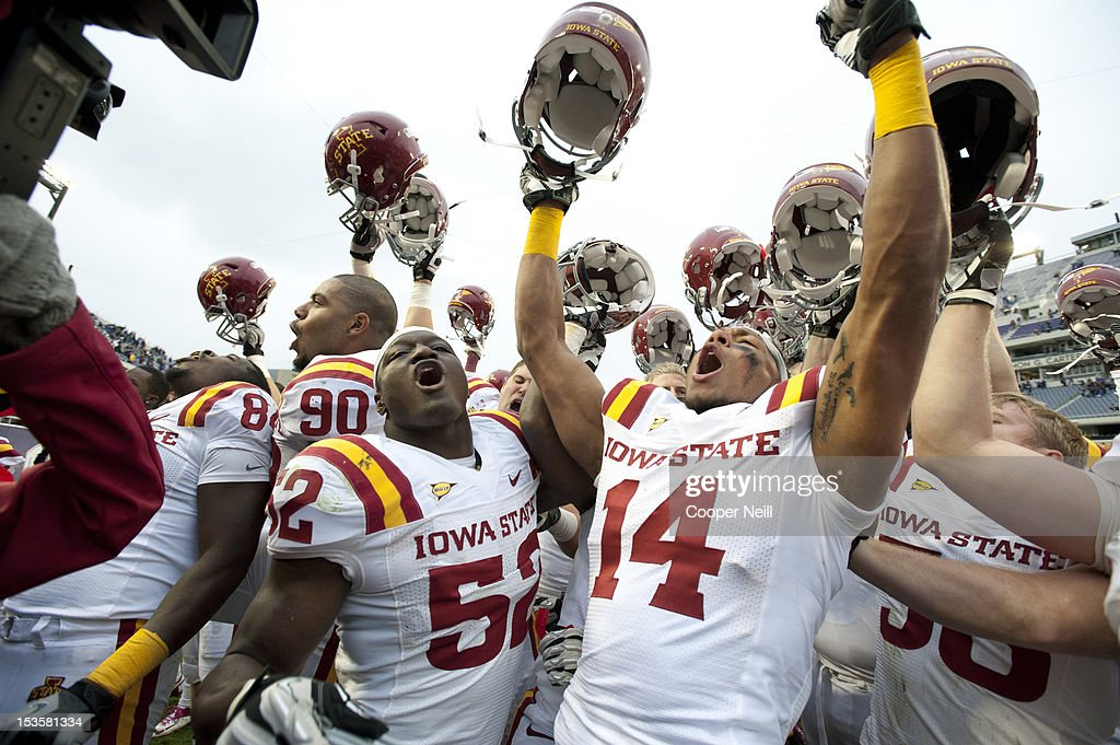 Jared Brackens #14 of the Iowa State Cyclones celebrates with teammates after defeating the TCU Horned Frogs during the Big 12 Conference game on October 6, 2012 at Amon G. Carter Stadium in Fort Worth, Texas.