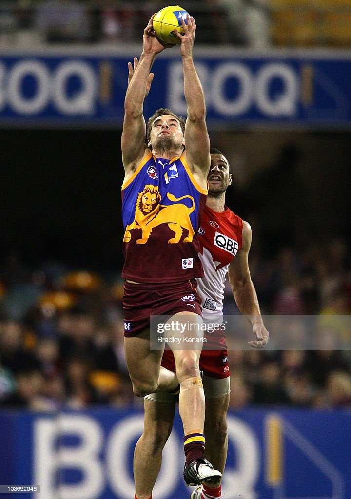 Jared Brennan of the Lions takes a mark during the round 22 AFL match between the Brisbane Lions and the Sydney Swans at The Gabba on August 28, 2010 in Brisbane, Australia.