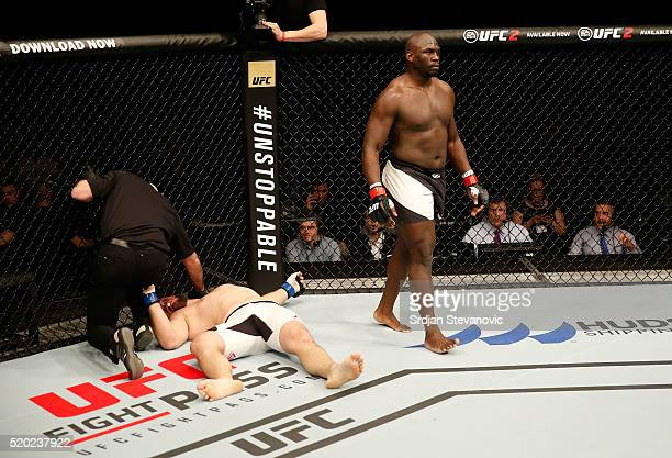 Jared Cannonier knocks outs Cyril Asker in the first round in their heavyweight bout during the UFC Fight Night event at the Arena Zagreb on April 10...