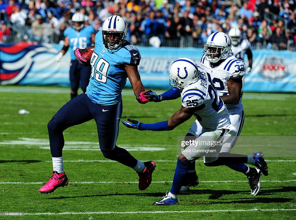 Jared Cook #89 of the Tennessee Titans runs with a catch against <a gi-track='captionPersonalityLinkClicked' href=/galleries/search?phrase=Jerraud+Powers&family=editorial&specificpeople=3234010 ng-click='$event.stopPropagation()'>Jerraud Powers</a> #25 of the Indianapolis Colts at LP Field on October 28, 2012 in Nashville, Tennessee.