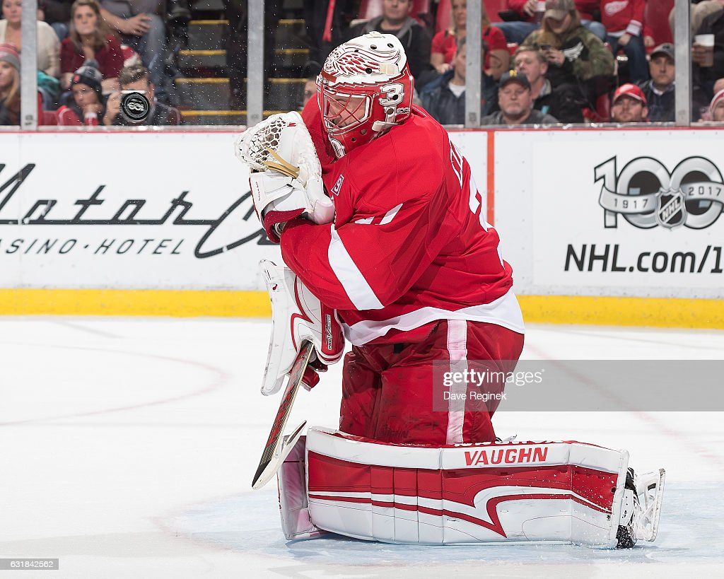 Jared Coreau #31 of the Detroit Red Wings makes a save during an NHL game against the Montreal Canadiens at Joe Louis Arena on January 16, 2017 in Detroit, Michigan. The Wings defeated the Canadiens 1-0.
