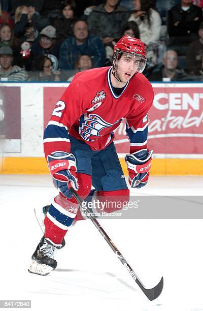 Jared Cowan of the Spokane Chiefs skates against the Kelowna Rockets on January 2 2009 at Prospera Place in Kelowna Canada