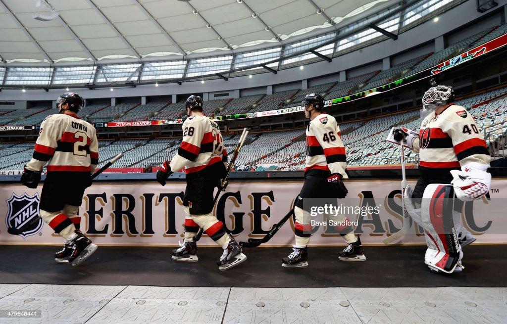 Jared Cowen Matt Kassian Patrick Wiercioch and goaltender Robin Lehner of the Ottawa Senators walk out for practice as part of the 2014 Tim Hortons...