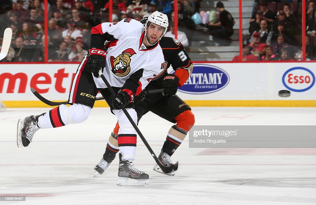 Jared Cowen #2 of the Ottawa Senators shoots the puck against the Anaheim Ducks at Canadian Tire Centre on October 25, 2013 in Ottawa, Ontario, Canada.