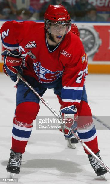 Jared Cowen of the Spokane Chiefs waits for a faceoff against the Kitchener Rangers in the Memorial Cup Championship game on May 25 2008 at the...