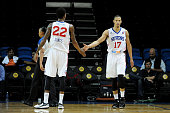 Jared Cunningham and Jamal Jones of the Delaware 87ers celebrate against the Iowa Energy during the 2015 NBA DLeague Showcase presented by Samsung at...