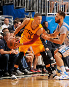 Jared Cunningham of the Cleveland Cavaliers defends the ball against the Orlando Magic during the game on December 11 2015 at Amway Center in Orlando...