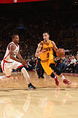 Jared Cunningham of the Cleveland Cavaliers drives to the basket against the Toronto Raptors during the game on October 18 2015 at the Air Canada...