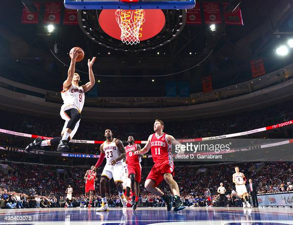 Jared Cunningham of the Cleveland Cavaliers goes up for the layup against the Philadelphia 76ers at Wells Fargo Center on November 2 2015 in...