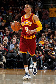 Jared Cunningham of the Cleveland Cavaliers handles the ball against the Oklahoma City Thunder on December 17 2015 at Quicken Loans Arena in...