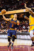 Jared Cunningham of the Cleveland Cavaliers shoots during the second half against the Golden State Warriors at Quicken Loans Arena on January 18 2016...