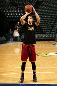 Jared Cunningham of the Cleveland Cavaliers warms up before the game against the Indiana Pacers on February 1 2016 at Bankers Life Fieldhouse in...