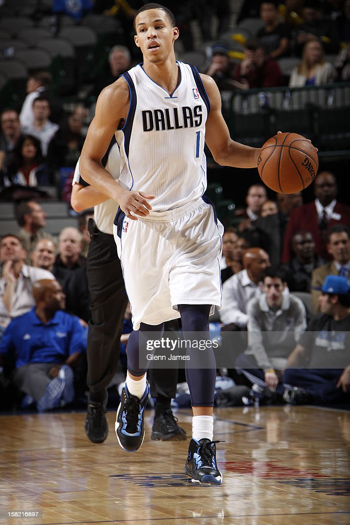 Jared Cunningham #1 of the Dallas Mavericks dribbles the ball upcourt against the Sacramento Kings on December 10, 2012 at the American Airlines Center in Dallas, Texas.