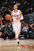 Jared Cunningham of the Los Angeles Clippers dribbles down the courtduring the game against the Portland Trail Blazers on October 24 2014 at the...