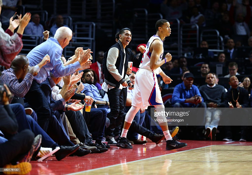<a gi-track='captionPersonalityLinkClicked' href=/galleries/search?phrase=Jared+Cunningham&family=editorial&specificpeople=6549470 ng-click='$event.stopPropagation()'>Jared Cunningham</a> #9 of the Los Angeles Clippers reacts after making a three-point shot and being fouled late in the first half against the Phoenix Suns during the NBA game at Staples Center on December 8, 2014 in Los Angeles, California.
