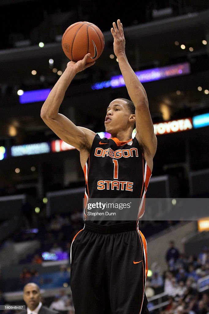 Jared Cunningham #1 of the Oregon State Beavers shoots the ball in the first half while taking on the Washington Huskies during the quarterfinals of the 2012 Pacific Life Pac-12 basketball tournament at Staples Center on March 8, 2012 in Los Angeles, California.