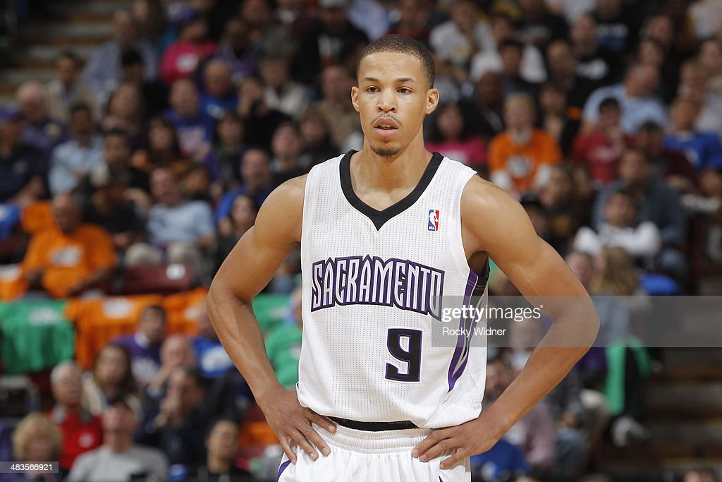 Jared Cunningham #9 of the Sacramento Kings in a game against the Los Angeles Lakers on April 2, 2014 at Sleep Train Arena in Sacramento, California.