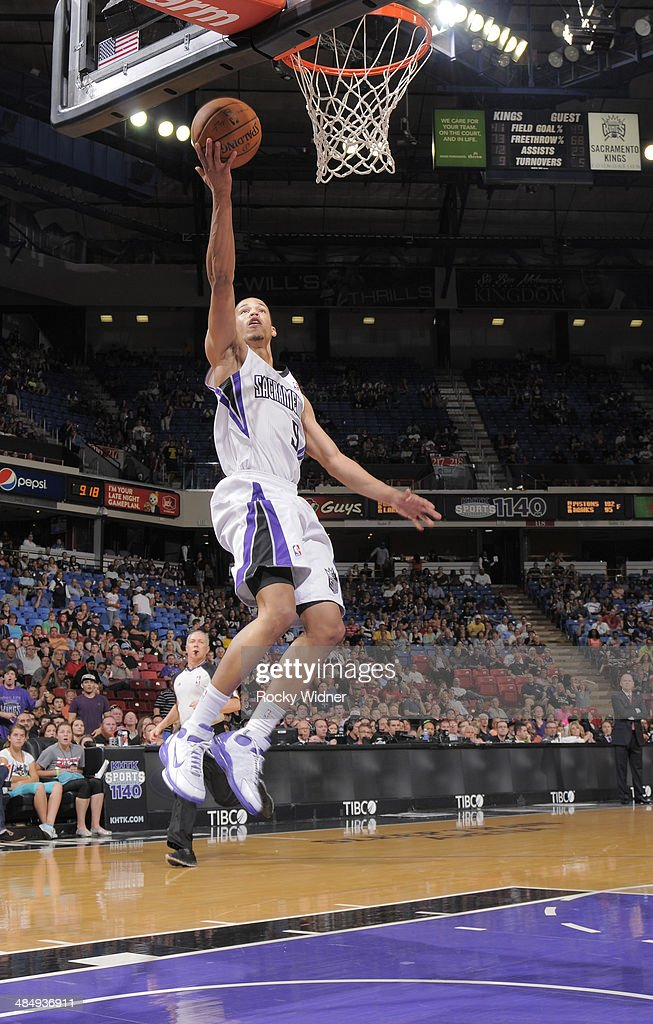 Jared Cunningham #9 of the Sacramento Kings shoots a layup against the Oklahoma City Thunder on April 8, 2014 at Sleep Train Arena in Sacramento, California.