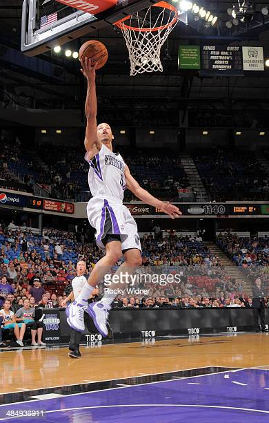 Jared Cunningham of the Sacramento Kings shoots a layup against the Oklahoma City Thunder on April 8 2014 at Sleep Train Arena in Sacramento...